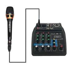 Consola de mezcla profesional, minimezclador de Audio con puerto USB, Bluetooth, 4 canales, puesta en escena, acción en vivo