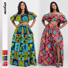 New Style Women's Fashion One Shoulder Suit Ethnic Style Digital Printing Elastic Skirt Two Piece Set African Skirt Ladies Dress