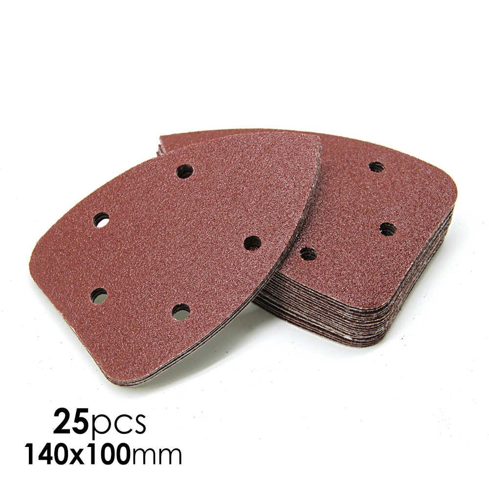 Detail Sander Paper 140x90mm 30Pcs 5 Holes 60 Grit Aluminum Oxide Mouse Sanding Paper Hook /& Loop Red Mouse Sander Pad Triangle Sandpaper for 140mm Sanding Machine by POLIWELL