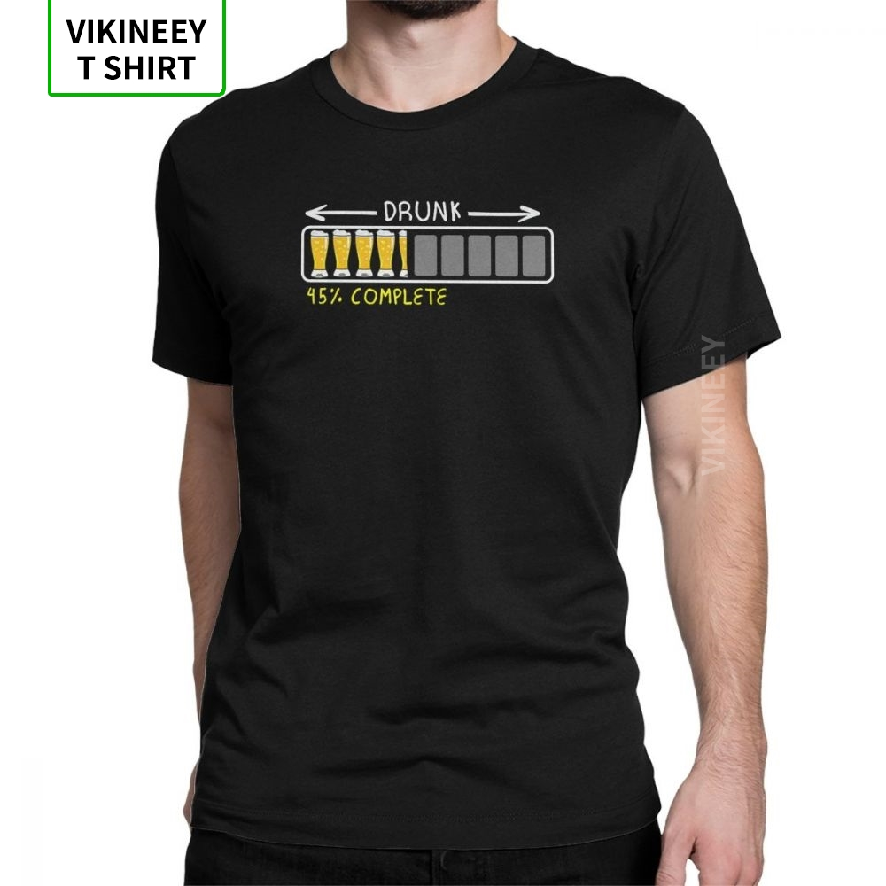 Men's T-Shirts Drunk Beer Loading 45% Complete Slim Fit 100% Cotton Tees Short Sleeve Bar Alcohol Ale Drink T Shirt Printed