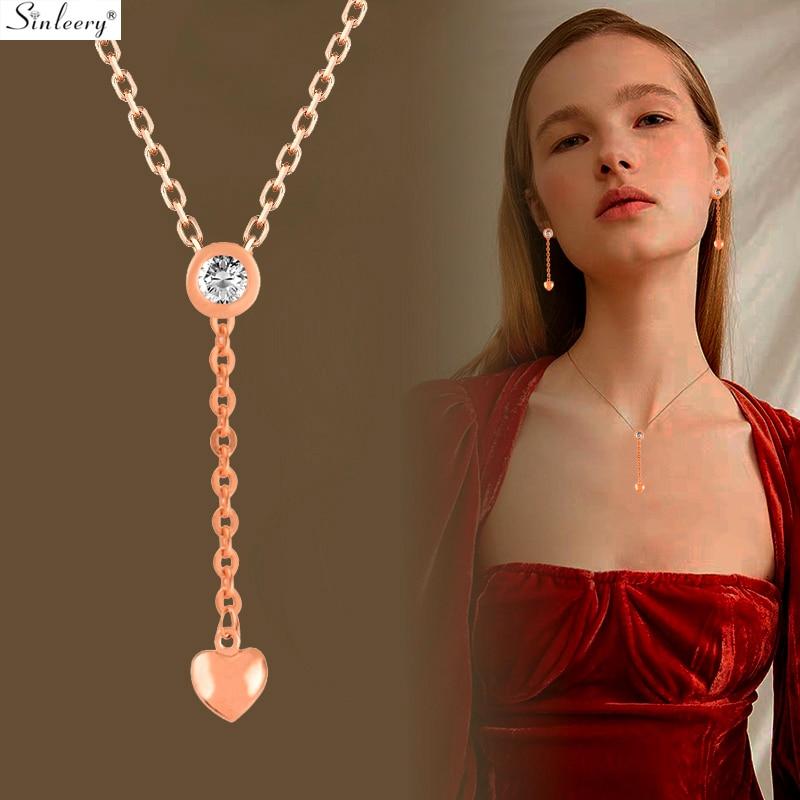 SINLEERY Collar colgante corto de moda con corazón pequeño para mujer Cadena de color oro rosa Collar redondo de gargantilla de circón cúbico Joyería XL691