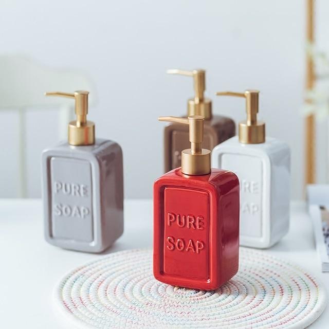 470ML Liquid Soap Dispenser Ceramic Shampoo Hand Sanitizer Pump Bottle Kitchen Bathroom Accessories Outdoor Travel Bottle