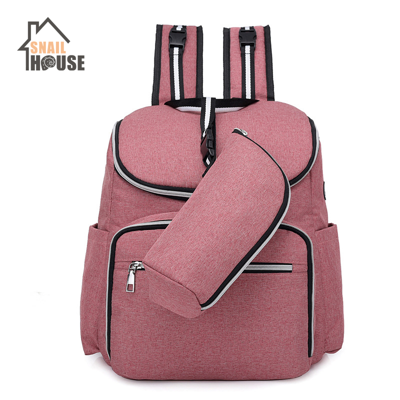 Snailhouse Multifunction Mummy Bag Travel Backpack USB Headphones Waterproof Mother Bag Fashion Women Double Backpack Diaper Bag