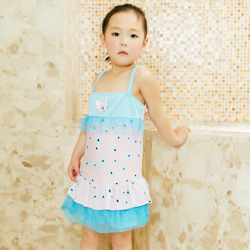 2019 New Style KID'S Swimwear Age Of 3-5 Baby Bathing Suit Korean-style Printed GIRL'S Swimsuit Summer Vacation Seaside Tour Bat