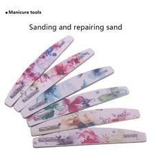 6 Pcs/lot Sandpaper Nail File Lime 180/180 Double Side Sanding Buffer Block Set Grey Nail Files For UV Gel Polish Manicure Tool