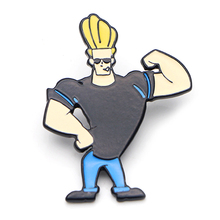 Johnny Bravo cartoon Zinc Alloy Enamel pins Trendy insignia para backpack shirt clothes bag brooches badges for men women E0596