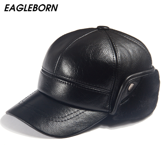 Men Winter Leather Hat Real Fur Hat Cowhide Baseball Cap Bomber Hats Russian Hat Men Dad Father Thick Tab Luxury Winter Caps 1