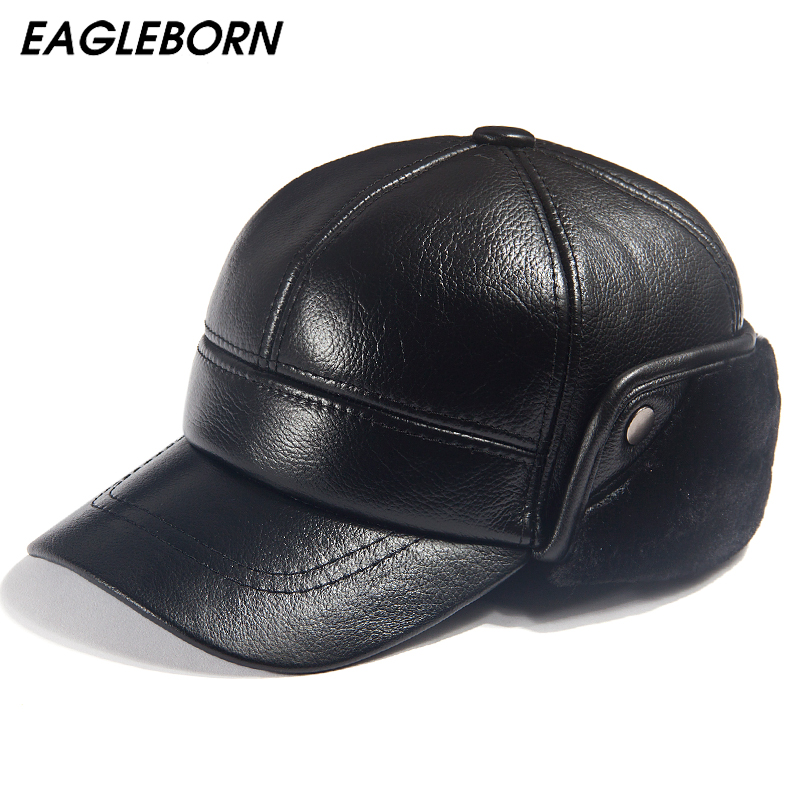 Men Winter Leather Hat Real Fur Hat Cowhide Baseball Cap Bomber Hats Russian Hat Men Dad Father Thick Tab Luxury Winter Caps