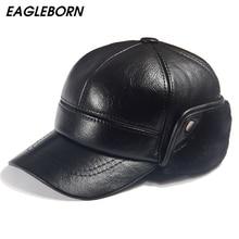 Men Winter Leather Hat Real Fur Hat Cowhide Baseball Cap