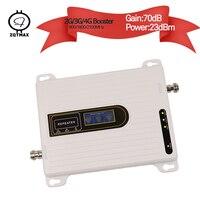 Zqtmax 900 1800 2100 2g 3g 4g repetidor banda tri móvel impulsionador de sinal lte umts amplificador de sinal celular internet b1 b3 b8 75db