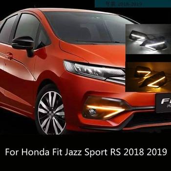 2PCS For Honda Fit Jazz Sport RS 2018 2019 Turn Yellow Signal Relay Waterproof Car DRL 12V LED Daytime Running Light Fog Lamp