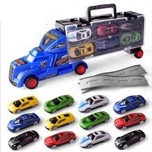 12 pcs Carrier Truck Set Premium Transporter Car Carrier Truck Model Inertia Cars Vehicle Toys VVehicle Set for Children Toddler