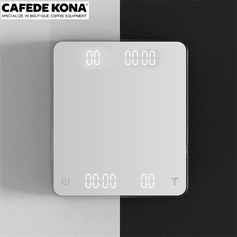 CAFEDE KONA Electronic scale with dual monitors Two kinds of power supply digital coffee scale with timer kitchen scale 3KG/0.1g