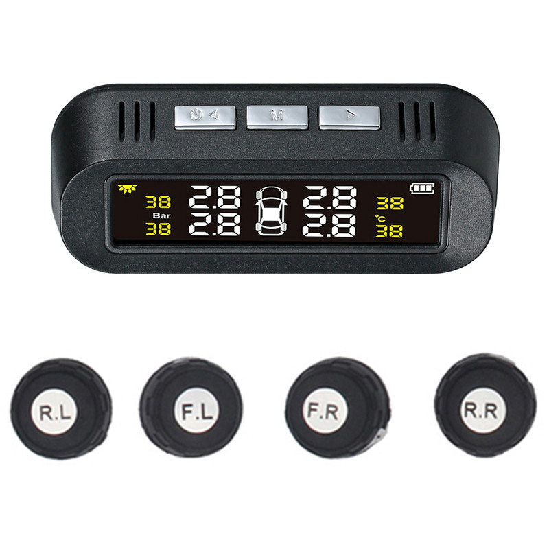 Tpms Solar Power Universal Wireless Tire Pressure Monitoring System With 4 External Sensors Real Time Displays 4 Tires'Pressure|Tire Pressure Monitor Systems| |  - title=