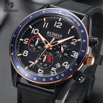 цена на RUIMAS Mens Army Sports Watches Top Brand Luxury Leather Strap Wristwatch Man Luminous Chronograph Watch Relogios Masculino 574