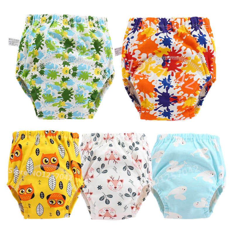 5Pcs Baby Cotton Training Pants Panties Reusable Cloth Diapers  Waterproof  Toolder Nappies Diaper Baby Underwear Washable