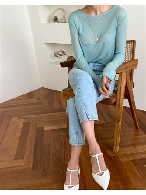 New Spring Top Sexy T Shirt Women Elasticity T-Shirt Summer Tee Woman Clothes Slim Tshirt Female Skinny  Cotton Long Sleeve Tops 2