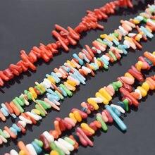 Couleur mixte Irrégulière En Forme de Bâton Rouge Corail Perles De Pierre Naturelle Perles D'espacement Pour La Fabrication De Bijoux Bracelet À BRICOLER SOI-MÊME Collier