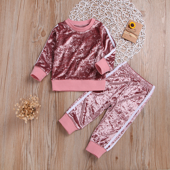 New Baby Girls Clothes Gold Velvet Long Sleeve Suit Boys Clothing 2pcs Kids Clothing Toddler Winter Clothes Girls Fall Outfits цена 2017