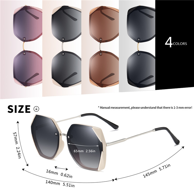 Image 4 - AOFLY BRAND Female Sunglasses Polarized Luxury Designer Oversized Frame Gradient Lens Square Sun glasses For Women Goggle UV400Womens Sunglasses   -
