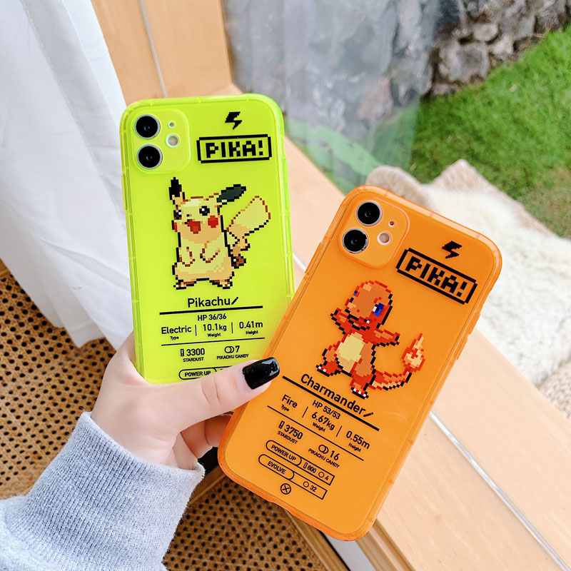 ShareEzone Fluorescent Color Cute Pokemon Cartoon Back Phone Case For iPhone 7 8 Plus X XR XS Max 11pro Max Clear Soft Backcover 3