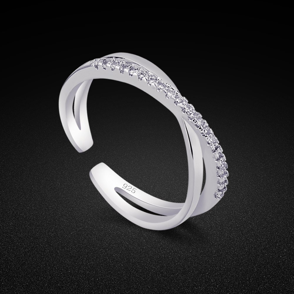 Creative Women's Original 925 Silver Ring Charm Jewelry Minimalist Cubic Zircon Ring Anniversary Gift Open Ring Free Adjustment