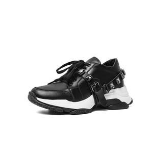 Image 2 - Morazora 2020 最新のカジュアルシューズ女性スニーカークリスタルレースアップ本革シューズ快適なフラット厚底靴の女性