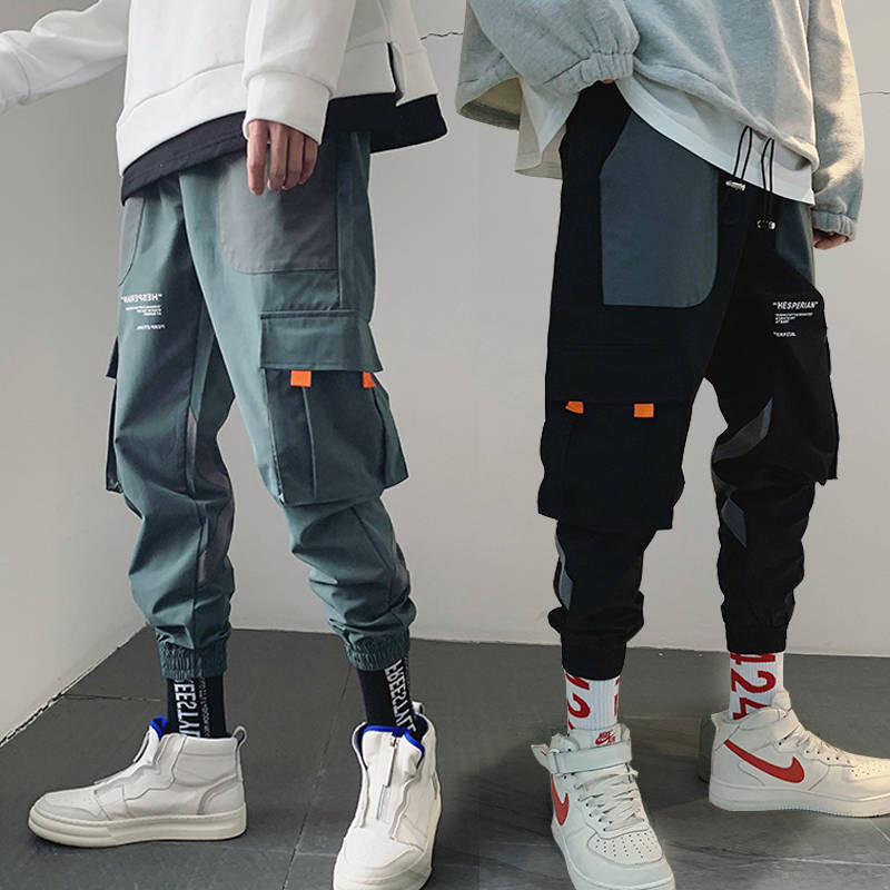 Autumn Japan Joggers Men Black Harem Pants Multi-pocket Ribbons Man Sweatpants Streetwear Casual Hip Hop Mens Cargo Pants