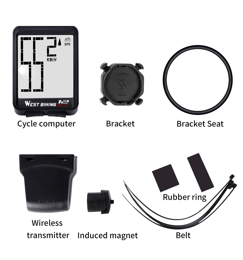 Image 5 - WEST BIKING Wireless Bicycle Computer Large Digital Bike Computer Odometer Speedometer Bike Thermometer Waterproof LCD Backlight-in Bicycle Computer from Sports & Entertainment