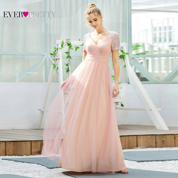 Elegant Pink Tulle Evening Dresses Ever Pretty A Line V Neck Short Sleeve Sequined Formal Party Women Gown Vestidos De Noite - discount item  15% OFF Special Occasion Dresses