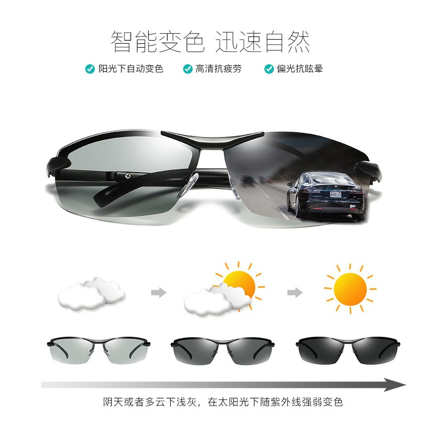 Hot Selling Light Induced Color Changing Polarized Sunglasses All-Weather Automatic Photographic Sunglasses Men Driving Glasses