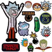 Pulaqi Rick and Morty Patch Nirvana Iron On Embroidered Patches For Clothing Stranger Things Stickers Clothes F
