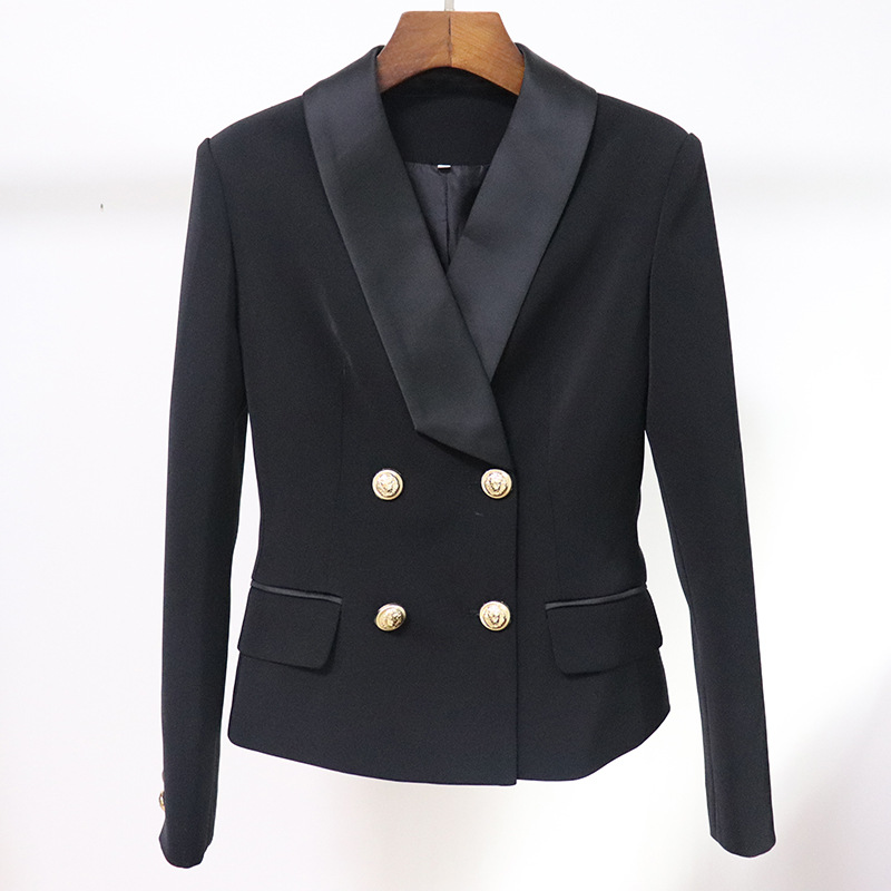 New autumn and winter women's professional office suit jacket femininity Temperament Slim Metal Double-breasted Ladies Blazer