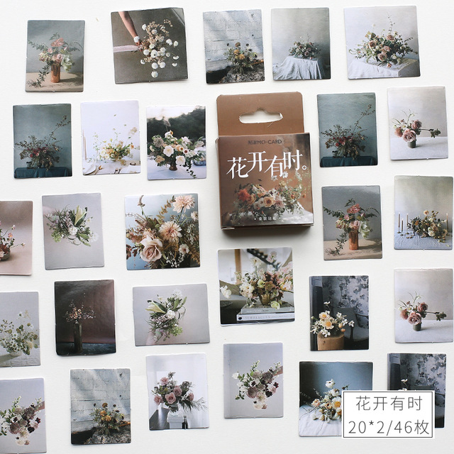 Vintage Flower Small Diary Mini Japanese Cute Box Stickers Set Scrapbooking Cute Flakes Journal Stationery