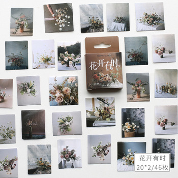 Vintage flower Small Diary Mini Japanese Cute box Stickers set Scrapbooking Flakes Journal Stationery - discount item  18% OFF Stationery Sticker