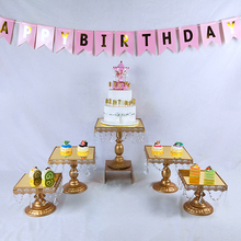 Tobs square gold mirror cake stand set wedding cupcake tray