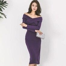2020 vestido de fiesta para damas sexy sin hombros escote dividido vestido elegante paquete vestido a la cadera mujer Vintage