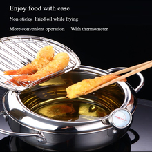 Deep Frying Pot Kitchen Thermometre Tempura Fryer Pan Temperature Control Fried Chicken Pot Cooking Dining Tools