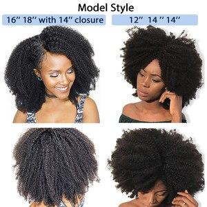 Image 4 - Mongolian Afro Kinky Curly Hair Bundles With Closure 100% Human Hair Bundles 4B 4C Natural Black Weave Extensions 3 Bundles Remy