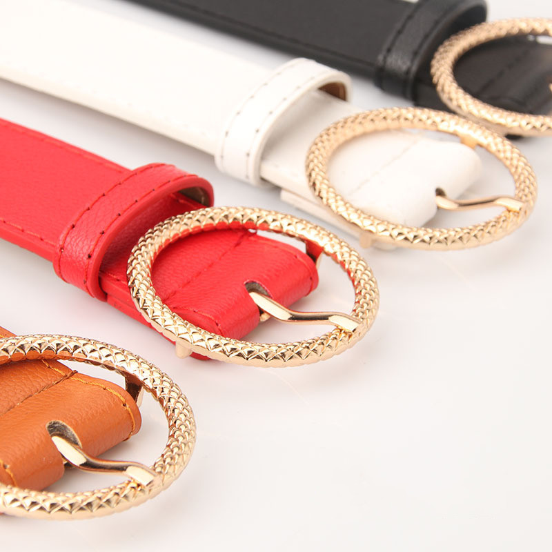 2019 New Women Fashion Waist Belts PU Leather Female Metal Pin Round Buckle Waistband Designer Gold Buckle Luxury Straps in Women 39 s Belts from Apparel Accessories