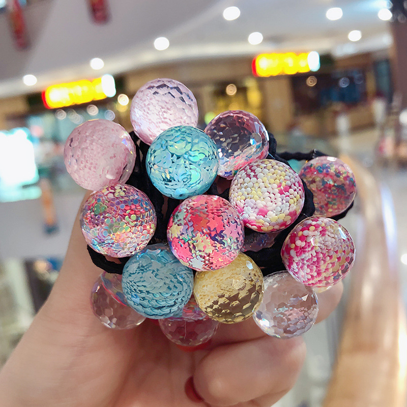 16 Pcs Cute Girl Sequin Acrylic Ball Design Elastic Band Hair Accessory Ponytail Holder Headbands Clever Rabbit Stars