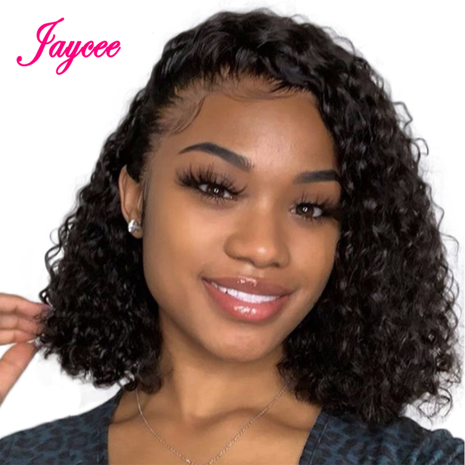 Lace Human Hair Wigs Curly Short Human Hair Wig 4*4 Lace Closure Wig For Black Women Virgo Hair Wig Pre-Plucked With Baby Hair