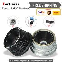 7 artesãos 25mm f1.8 4/3 prime camera lens photo studio para canon sony e fujifilm x micro frete grátis entrega expressa