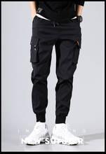 2019 summer vintage multi-pocket men's cargo pants hip-hop style black pocket jogging south Korean fashion sweatpant