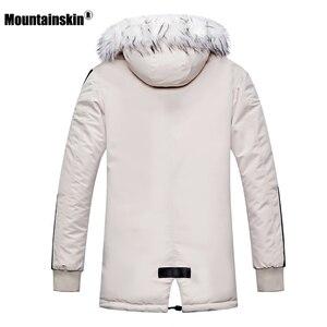 Image 5 - Зимнее Мужское пальто с меховым капюшоном, длинная хлопковая куртка, мужские повседневные парки, модные толстые теплые пальто, Мужская брендовая одежда SA611