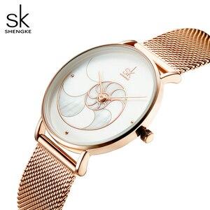 Image 4 - Shengke Vrouwen Mode Shell Creative Dial Japanse Quartz Horloge Lady Rosegoud Mesh Armband Waterdicht Horloge Montre Femme
