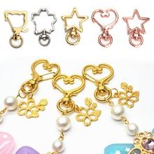 10Pcs/Set Split Ring DIY Bag Jewelry Handmade For Key Rings Heart Star Bling Lobster Clasp Clips Hooks Keychain Gift