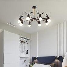 Черные светодиодный люстры железный светильник с рогами Современный
