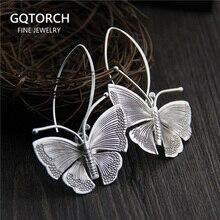 Reale di 100% Pure 925 Sterling Silver Esagerato Grande Farfalla Orecchini A Pendaglio Per Le Donne Epoca Fatti A Mano di Stile