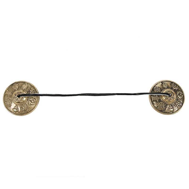 Tibetan Tingsha Cymbals - 6.2 Cm - 8 Lucky Symbols Embossed